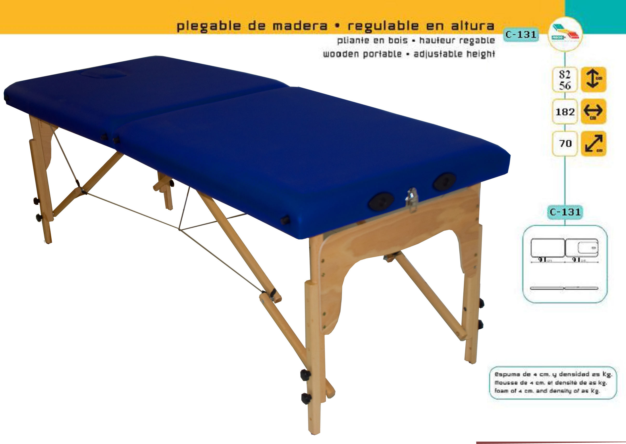 Table de massage pliante bois goural c 131 distributeur national exclusif push braces pavis - Table de massage pliante bois ...